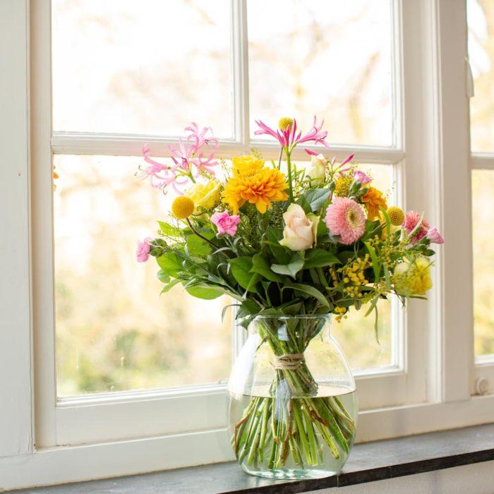 bonte geluksbrengen in het raam
